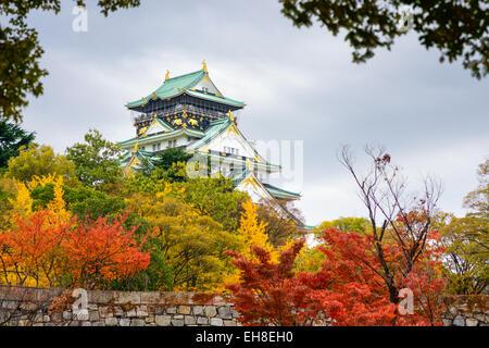 Osaka Castle in the autumn season. - Stock Photo