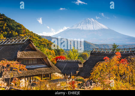 Iyashi-no-sato village with Mt. Fuji in Japan. - Stock Photo
