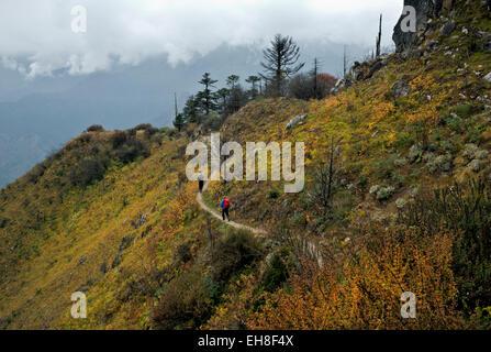 BU00292-00...BHUTAN - Trekkers descending the rocky trail from Thombu La to the Paro Chhu Valley on the Jhomolhari - Stock Photo