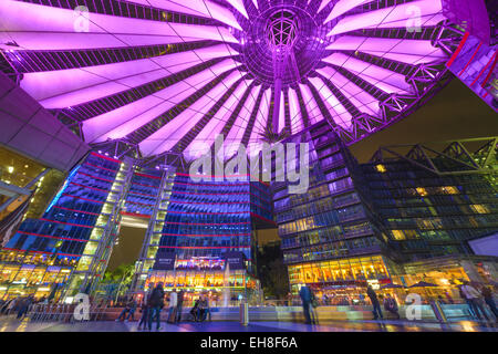 Sony Center at night. The center is a public space located in the Potsdamer Platz financial district of Berlin, - Stock Photo