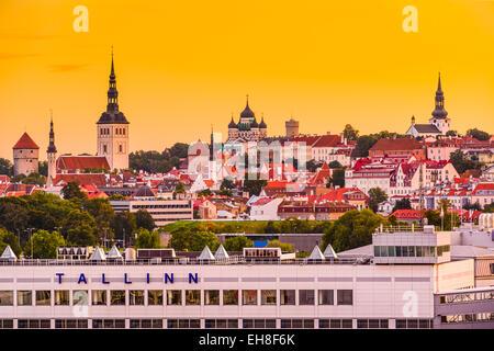 Tallinn, Estonia skyline from the port. - Stock Photo