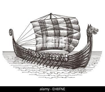Retro Ship Vector Logo Design Template Boat Or Drakary Icon
