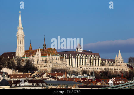 Budapest landscape showing Buda hill with Matthias church and Fisherman's Bastion - Stock Photo