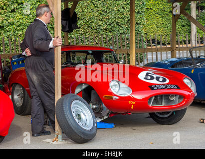 1961 Jaguar E-Type 'semi-lightweight', SSN300, in the paddock at the 2014 Goodwood Revival, Sussex, UK. - Stock Photo