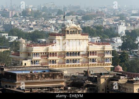 Chandra Mahal (or Niwas) Building of City Palace, Jaipur, Rajasthan, India - Stock Photo