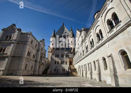 Neuschwanstein Castle courtyard Bavaria Germany - Stock Photo