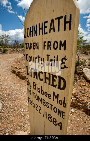 WOODEN GRAVE MARKER BOOT HILL GRAVEYARD TOMBSTONE COCHISE COUNTY ARIZONA USA - Stock Photo