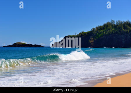 Secret Beach near Kilauea Point, Kauai, Hawaii, USA - Stock Photo