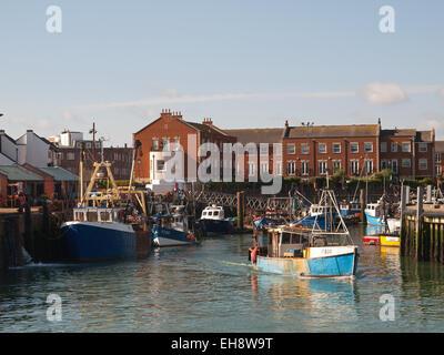 Coastal trawler leaving Camber Docks Old Portsmouth Hampshire England UK - Stock Photo