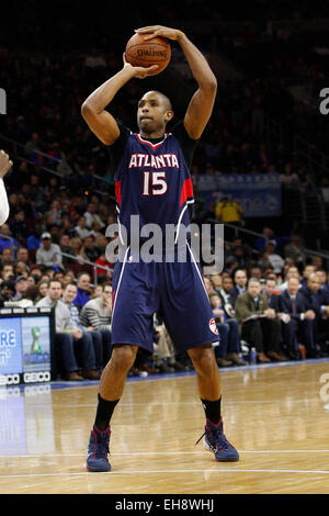 March 7, 2015: Atlanta Hawks center Al Horford (15) in action during the NBA game between the Atlanta Hawks and - Stock Photo