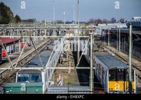 Southend Victoria station is one of two major railway stations in the town of Southend-on-Sea in Essex, England, - Stock Photo