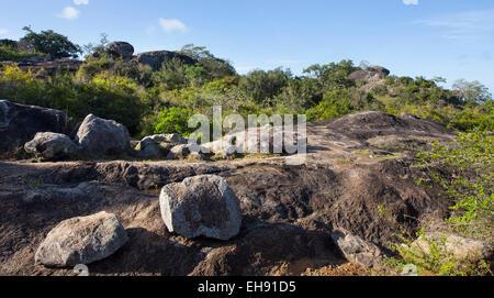 Rocky Outcrops in Yala National Park, Sri Lanka - Stock Photo