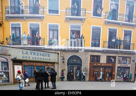 Europe, France, Rhone-Alpes, Lyon, La Fresque des Lyonnais, painted wall fresco of famous Lyonnais people - Stock Photo