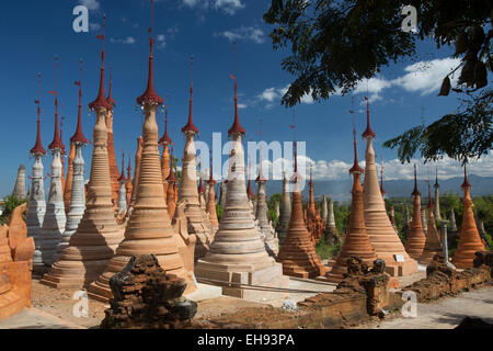 Thein Inn Dein stupas, Inle Lake, Myanmar - Stock Photo