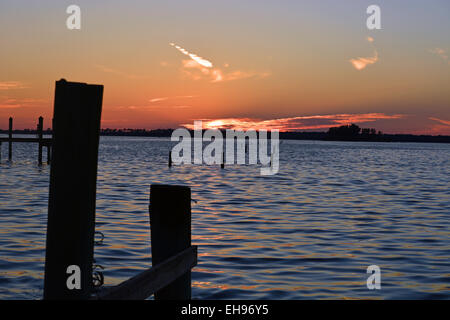 Sunset over the Gulf of Mexico from Dunedin, Florida, United States of America - Stock Photo