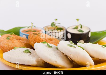 South Indian Dish Idli Sambar and Vada Nobody - Stock Photo