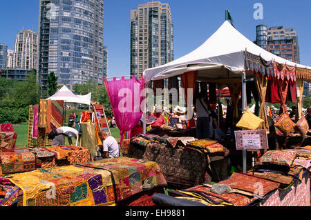Yaletown, Vancouver, BC British Columbia, Canada - Textiles from Indonesia for Sale at Outdoor Bazaar and Market, - Stock Photo
