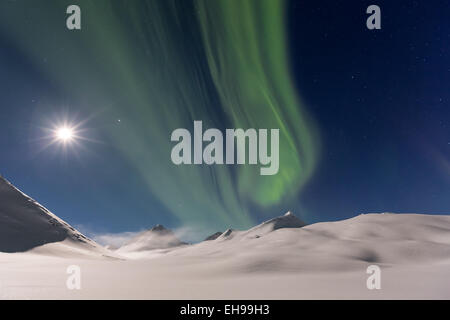The northern lights seen at Nallostugan, Kiruna, Sweden, Europe, EU - Stock Photo
