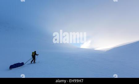 Skiing hiking near Nallostugan, Kiruna, Sweden, Europe, EU - Stock Photo