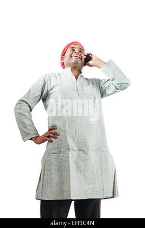 1 indian Rural man talking phone - Stock Photo