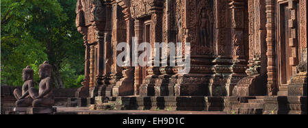 Banteay Srei temple at Angkor Cambodia - Stock Photo