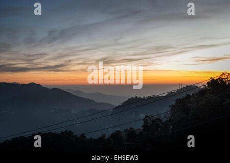 Himalayan sunset at Shimla, Himachal Pradesh, India - Stock Photo