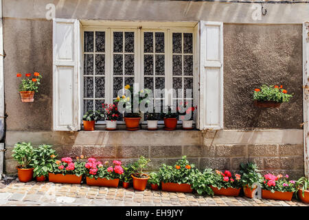 Window of house with colourful flower pots, Saint-Emilion, Gironde, Aquitaine, France - Stock Photo
