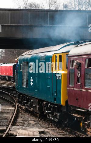 Class 35 Hymek diesel loco leaving Bury railway station recreating a 1970s railway scene on the East Lancs Railway - Stock Photo