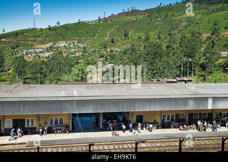 Sri Lanka, Central Province, Nuwaraelyia District, Nanu Oya, Railway station - Stock Photo