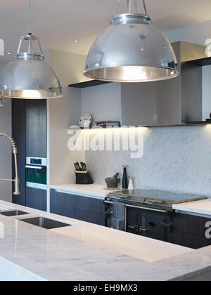 ... Pendant Lamps Above Island Unit In Modern Kitchen, Residential House,  Thurleigh Road, Clapham