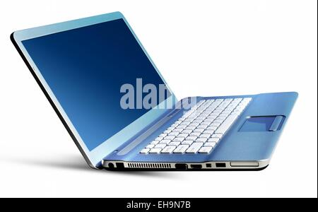 Metallic silver blue laptop notebook isolated on a white background. - Stock Photo