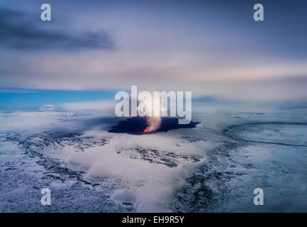 Aerial view of the volcano eruption at Holuhraun, Bardarbunga Volcano, Iceland - Stock Photo