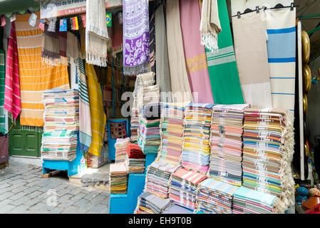 Carpet stall, medina, Tunis. Tunisia - Stock Photo
