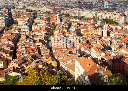 view from castle hill overlookin rooftops of Nice old town France, Alpes Maritimes, - Stock Photo