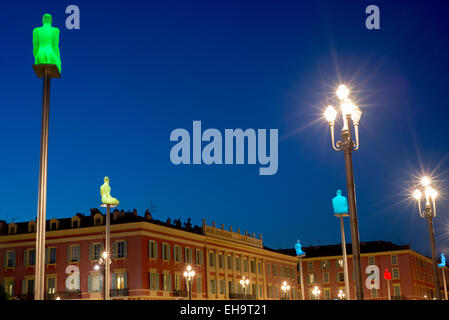 Place Massena square in the Old Town center of Nice, Provence, France, Europe - with sculpture columns which change - Stock Photo