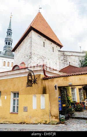 Buildings on Pikk Jelg street in Old Town of Tallinn, Estonia - Stock Photo
