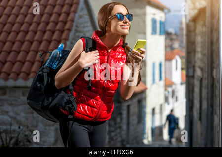 Young traveler in the city - Stock Photo