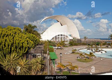The modern concert hall Auditorio de Tenerife by architect Santiago Calatrava Valls in Santa Cruz de Tenerife, Tenerife, - Stock Photo