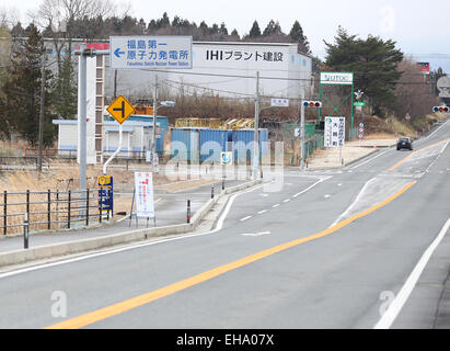 (150310) -- FUKUSHIMA, March 10, 2015 (Xinhua) -- The sign of Fukushima Daiichi nuclear power plant is seen in the - Stock Photo