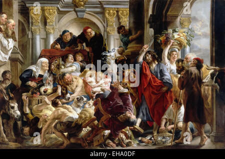 Jacob Jordaens  Jesus Driving the Merchants from the Temple - Stock Photo