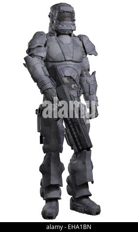 Future Space Marine in Urban Combat Armour - Stock Photo