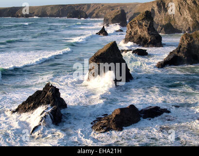 Sea stacks at Carnewas known as the  Bedruthan Steps, Cornwall, UK - Stock Photo