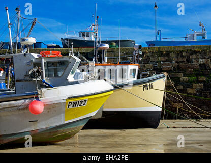 Boats in the harbour at Newquay, Cornwall, England UK - Stock Photo