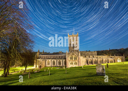 Midnight Mass - Star trails over the iconic St Davids Cathedral in Pembrokeshire, Wales. Made up of 114 images for - Stock Photo