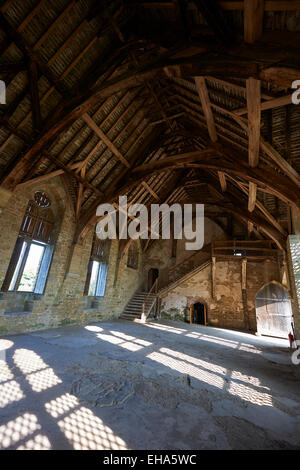 The interior of the great hall of the medieval manor house built in the 1280s at Stokesay Castle, Shropshire, England - Stock Photo