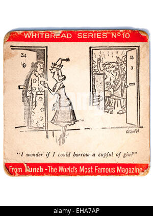 A Well Used Vintage British Beermat Advertising Whitbread Beer with a Punch Cartoon - Stock Photo