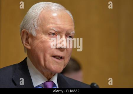 Washington, DC, USA. 10th Mar, 2015. Sen. ORRIN HATCH, R-UT, chairs a hearing of the Senate Finance Committee on - Stock Photo
