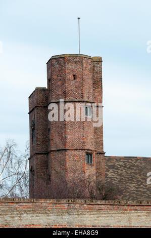 Elizabethan brick tower on Clifton House, a historic merchant's house in King's Lynn, Norfolk. - Stock Photo