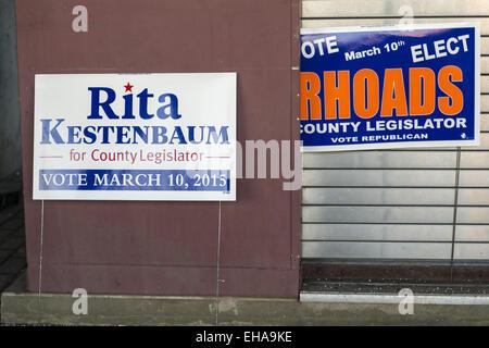 Merrick, New York, USA. 9th Mar, 2015. Political signs for Nassau County Legislator 19th District candidates, Rita - Stock Photo