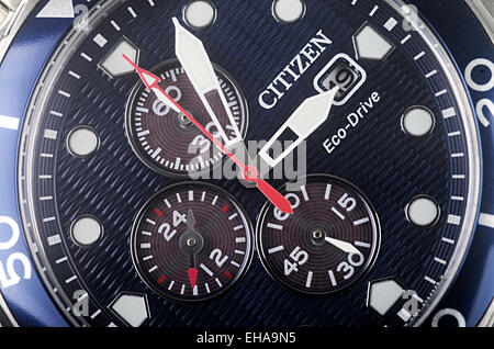 Macro Shot Of Face Of New Citizen Eco-Drive Man's Watch - Stock Photo